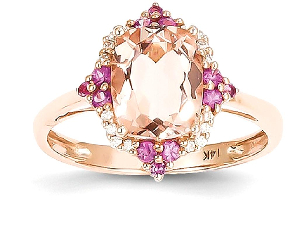 ICE CARATS ICE CARATS 14kt Rose Gold Pink Morganite Diamond Band Ring Size 7.00 Stone Gemstone Fine Jewelry Ideal Gifts... by IceCarats Designer Jewelry Gift USA