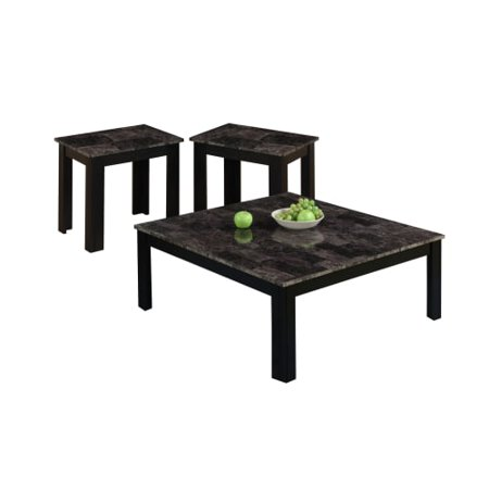 Monarch Table Set 3Pcs Set / Black / Grey / MarbleLook Top - Walmart.com