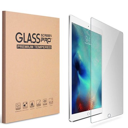 iPad 9.7 5th 6th Gen 2017 2018 Screen Protector by KIQ Tempered Glass Shield Anti-Scratch Self-Adhere (2