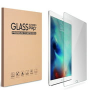 iPad 9.7 5th 6th Gen 2017 2018 Screen Protector by KIQ Tempered Glass Shield Anti-Scratch Self-Adhere (2 Pack)