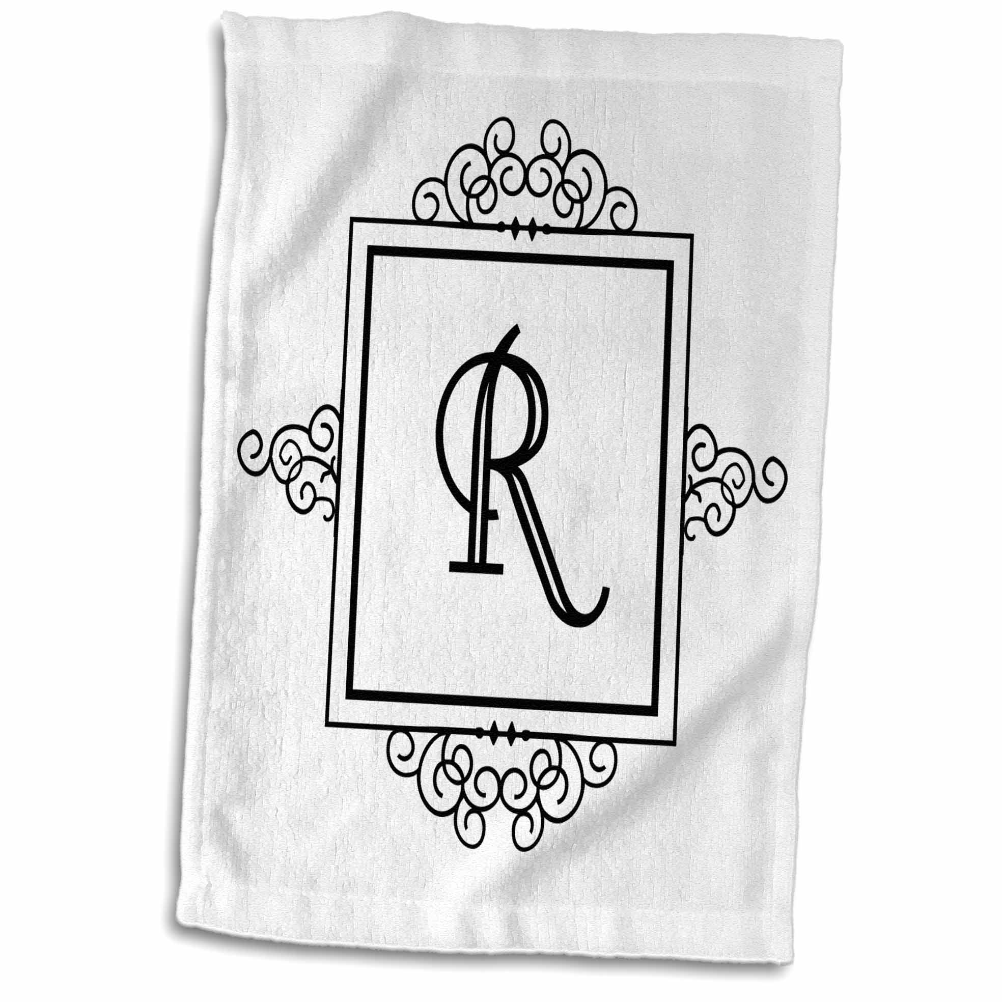 3dRose Initial letter R personal monogrammed fancy black and white typography elegant stylish personalized - Towel, 15 by 22-inch