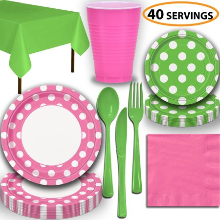 Disposable Tableware, 40 Sets - Hot Pink and Lime Green Dots - Dinner Plates, Dessert Plates, Cups, Lunch Napkins, Cutlery, and Tablecloths:  Party Supplies Set