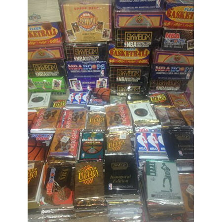 300 Unopened Basketball Cards Collection in Factory Sealed Packs of Vintage NBA Cards From the 80's and 90's Look Larry Bird, Magic Johnson, Barkley, Shaq, Olajuwon, Michael Jordan, and