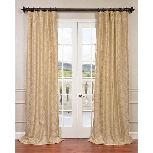 Half Price Drapes Marakesh Bone Flocked Taffeta Single Curtain Panel