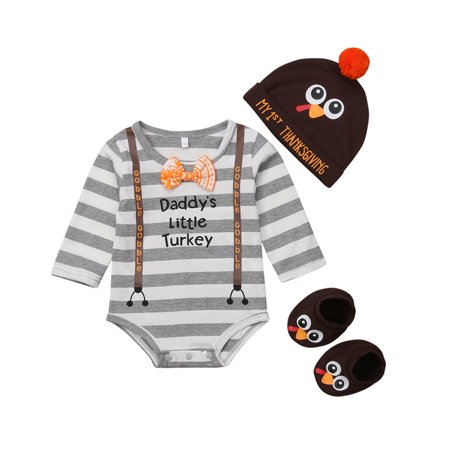 3PCS Unisex Babys Daddy's Little Turkey Romper With Hat And Sock Thanksgiving Day Outfits 12-18 - Thanksgiving Day Outfits