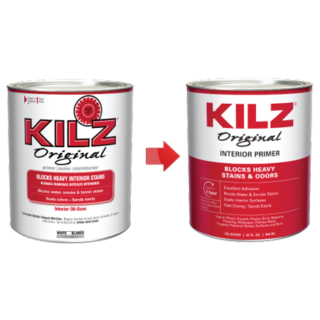 KILZ Original Interior Oil-Based Primer/Sealer/Stain Blocker Low VOC Formula, White, 1 quart - New Look, Same Trusted (Stained Oil)