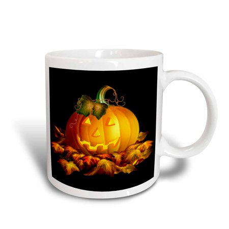 3dRose Glowing JackoLantern and Autumn leaves on Halloween night on black background, Ceramic Mug, 11-ounce