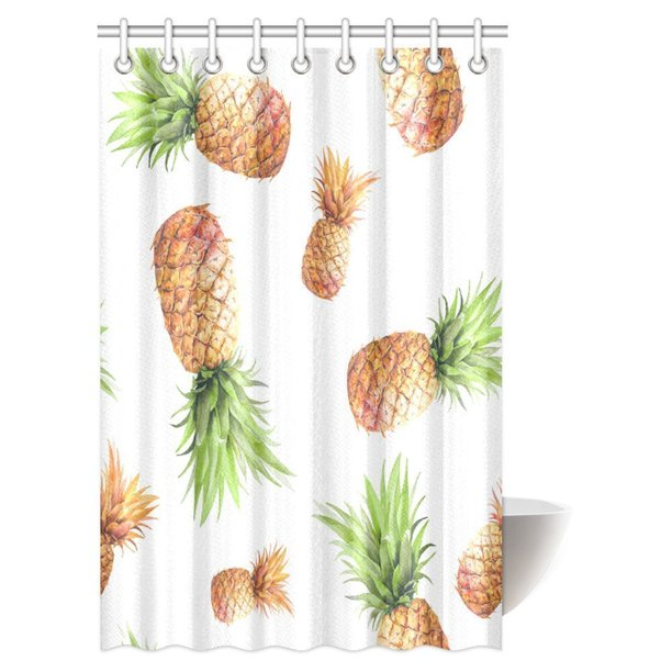 MYPOP Pineapple Decor Shower Curtain, Tropical Theme