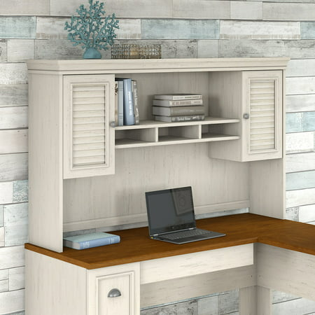 Bush Fairview Collection L Shaped Desk With Hutch Antique White