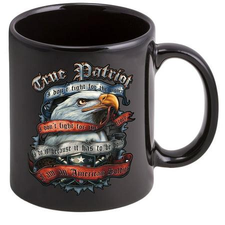 Coffee Cup with American Soldier True Patriot USMC Logo, Stoneware - Patriots Birthday