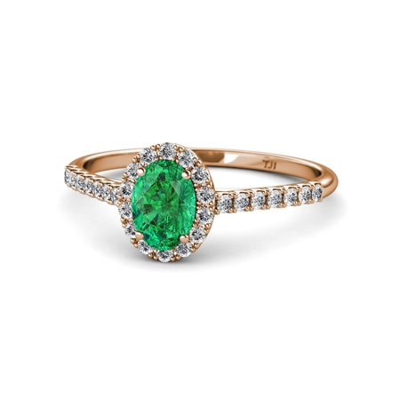 Oval 7x5mm Emerald & Diamond (SI2-I1,G-H) Halo Engagement Ring 1.17 Carat tw in 14K Rose Gold.size 6.75