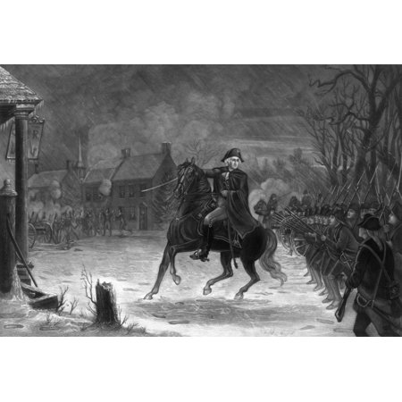 Vintage American History print of General George Washington on his horse leading armed troops at The Battle of Trenton Poster