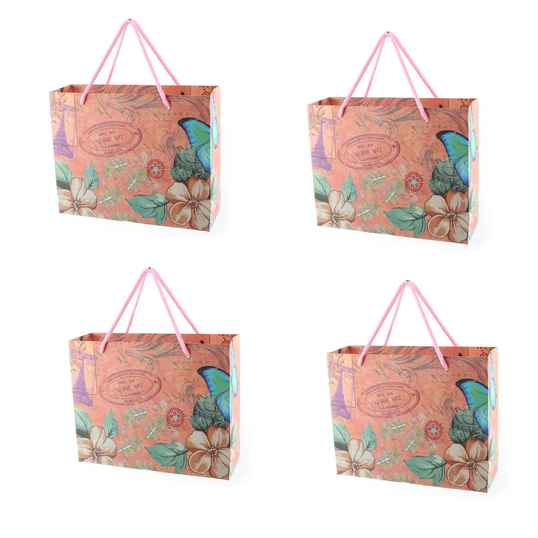 Unique Bargains Paper Flower Pattern Birthday Gift Bag Assorted Color 4 Pcs