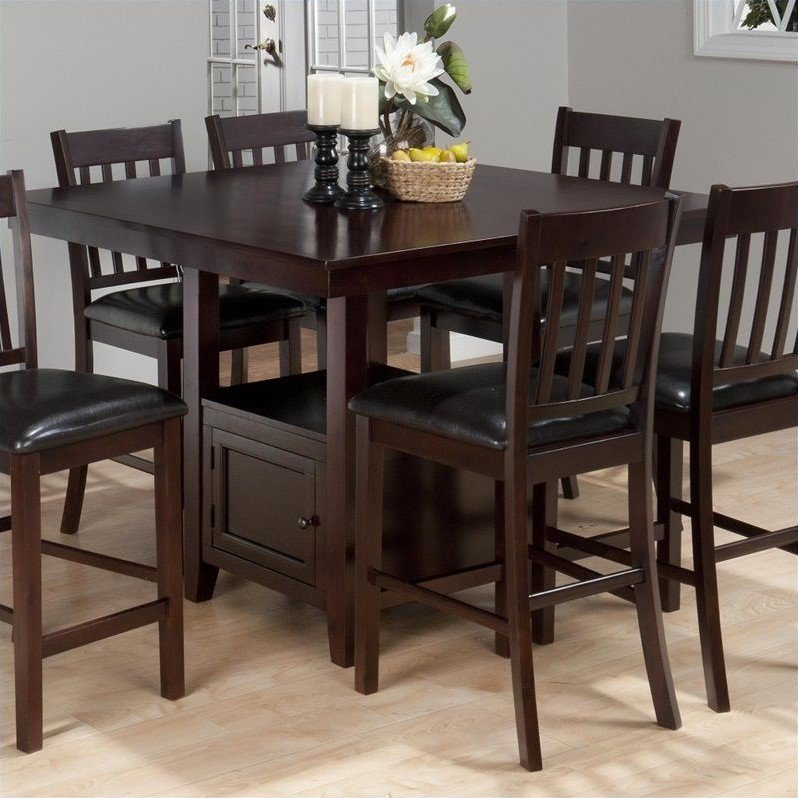 Attirant Jofran Counter Height Square Storage Dining Table In Tessa Chianti