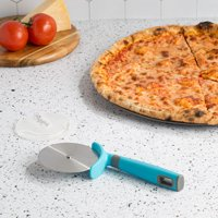 Tasty Classic Jumbo Pizza Cutter Wheel with Stainless Steel Blade and Blade Guard, Tasty Blue