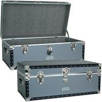 "Seward? Classic Collection Oversized Footlocker Trunk, 30.9"", Silver"