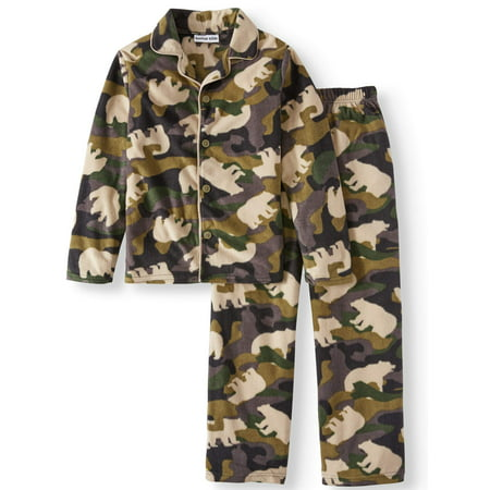 Button Cami (Boys' Bear Camo Fleece Button Front 2-piece Pajama Sleep Set (Little Boys & Big)