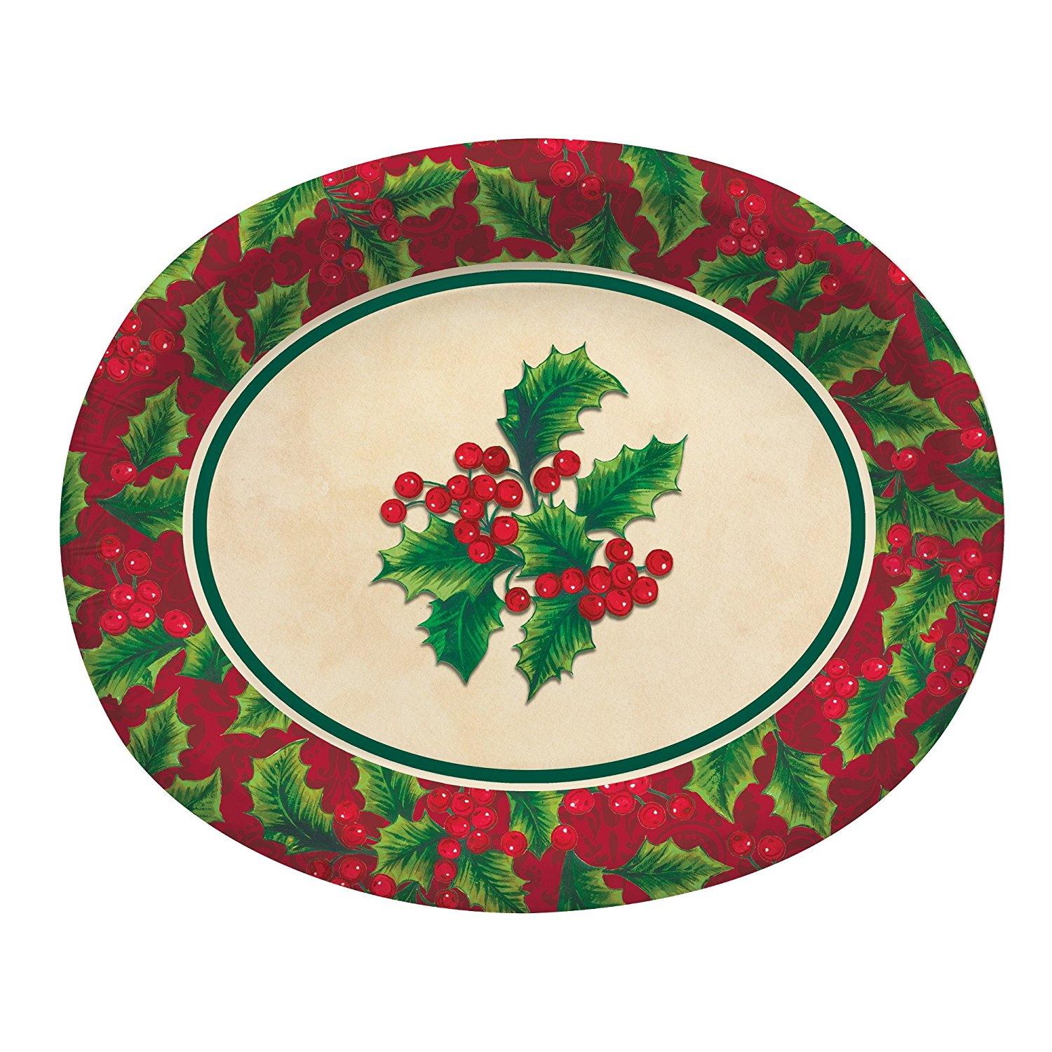 Boughs of Holly Christmas 8 ct Oval Platters 10\  x 12\  Banquet Sturdy  sc 1 st  Walmart & Boughs of Holly Christmas 8 ct Oval Platters 10\