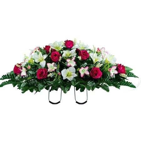 Sympathy Silks Artificial Cemetery Flowers – Realistic Vibrant Roses, Outdoor Grave Decorations - Non-Bleed Colors, and Easy Fit -Pink White Rose (Best Flowers To Plant At Cemetery)
