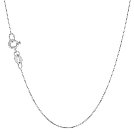 10K White Gold 0.6mm Box Chain Necklace 16