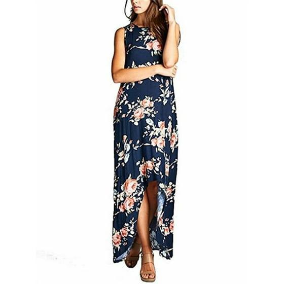 95c5e4ad408533 YONYWA - Floral Print Sleeveless Asymmetrical Long Dress - Walmart.com