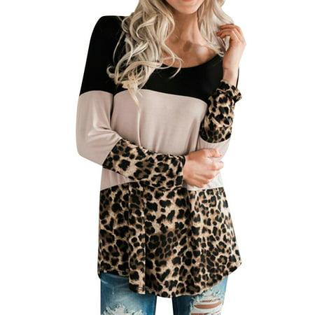 Nlife Women's Long Sleeve Round Neck Leopard Print Top