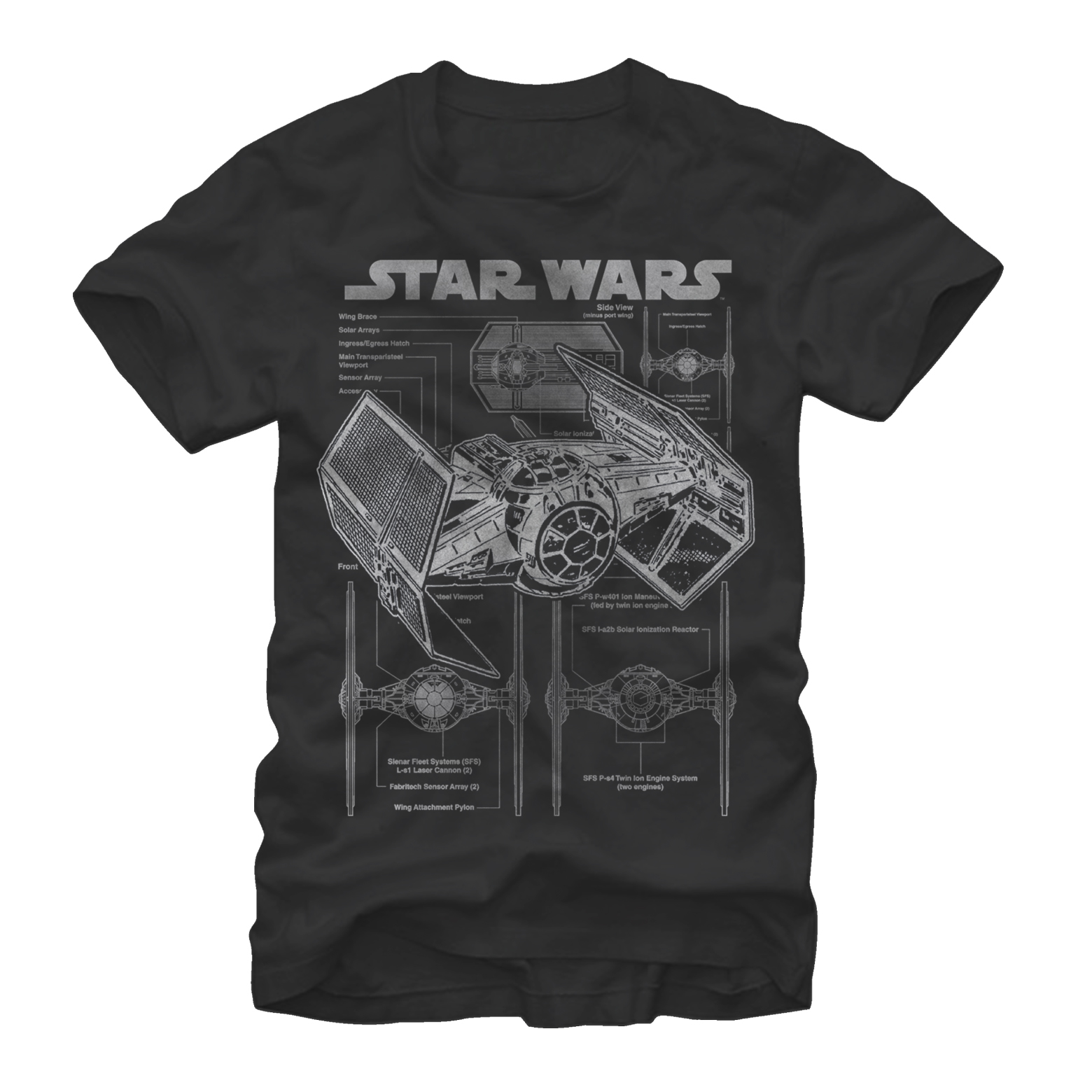 star wars men's tie fighter blueprint t-shirt