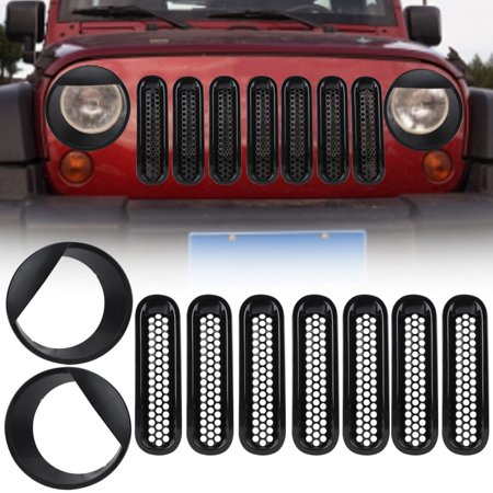- Dilwe 7pcs Front Grill Inserts Mesh Trim & 2pcs Big Eye Headlight Bezels for Jeep Wrangler JK 07-16, Mesh Trim Cover, Headlamp Cover