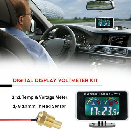 Car LCD Digital Display Water Temperature Meter Thermometer Voltmeter Gauge 2in1 Temp & Voltage Meter 1/8 10mm Thread Sensor - image 3 of 6