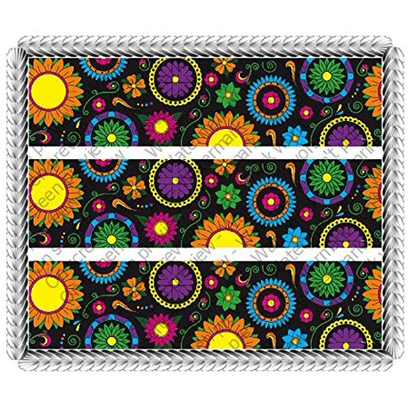Dia De Los Muertos Day of the Dead Halloween 3 Celebration Birthday Cake Borders Designer Prints Edible Image Cake Decoration