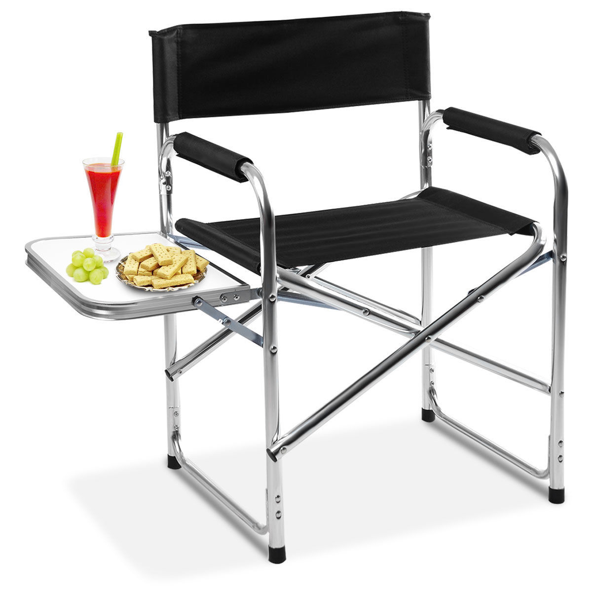 Costway Aluminum Folding Directoru0027s Chair With Side Table Camping Traveling