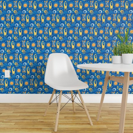 Removable Water Activated Wallpaper Moon Landing Space Astronaut Space
