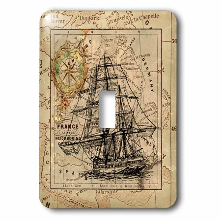 Ship Map - 3dRose Image of Black Ghost Ship On Vintage European Map - Single Toggle Switch