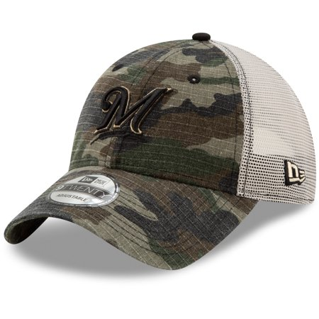 Milwaukee Brewers New Era Tonal Trucker 9TWENTY Adjustable Snapback Hat - Camo - (Single Soft Heat Brewer)