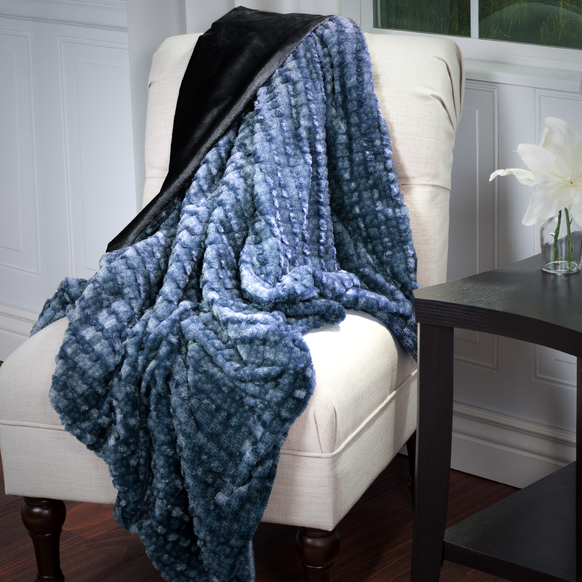 Faux Fur Mink Throw by Somerset Home - Plush Striped Embossed - Black/Grey