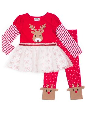 Little Lass Holiday Christmas Reindeer Tutu Tunic With Leggings, 2-Piece Outfit Set (Little Girls)