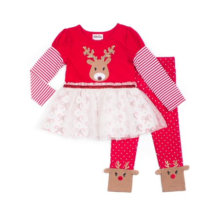 Little Lass Holiday Christmas Reindeer Tutu Tunic With Leggings, 2-Piece Outfit Set (Little Girls) ()