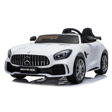 2 Seater 12V powered Mercedes ride on car 4WD for kids Remote Control LED lights Opening doors MP3 - White