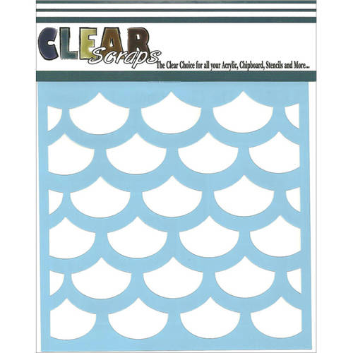 "Clear Scraps Stencils, 12"" x 12"", Fish Scales"