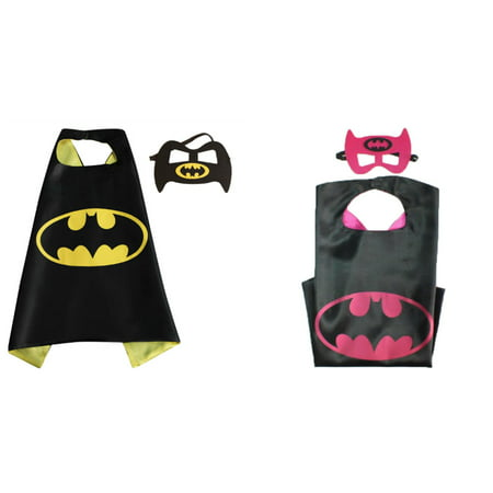 Batman & Batgirl Costumes - 2 Capes, 2 Masks with Gift Box by Superheroes - Batman And Batgirl Halloween Costumes