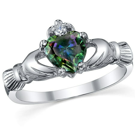 Sterling Silver 925 Irish Claddagh Friendship & Love Mystic Rainbow Simulated Topaz Color Heart Cubic Zirconia Ring