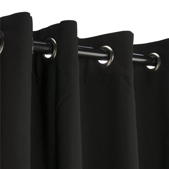 Hammock Source CUR96BLGRSN 50 x 96 in. Sunbrella Outdoor Curtain with Nickel Plated Grommets, Black