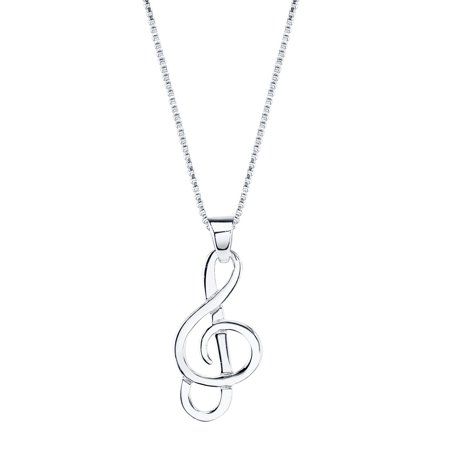 Sterling Silver Musical Note Pendant Necklace, 18