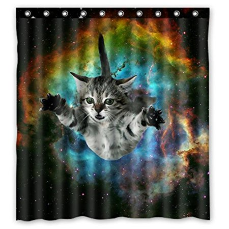 Space cat water proof polyester fabric 66 x 72 shower for Space kitty fabric
