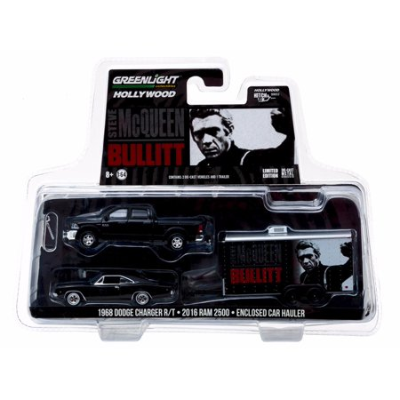 2016 Dodge Ram 2500 and 1968 Dodge Charger R/T Bullitt (1968) in Enclosed Car Hauler 1/64 Diecast by Greenlight