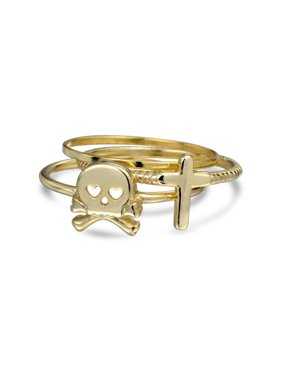 59eccf37a Product Image 3 Set Caribbean Pirate Skull Crossbones Cross 14K Gold Plated Sterling  Silver Midi Knuckle Midi Ring