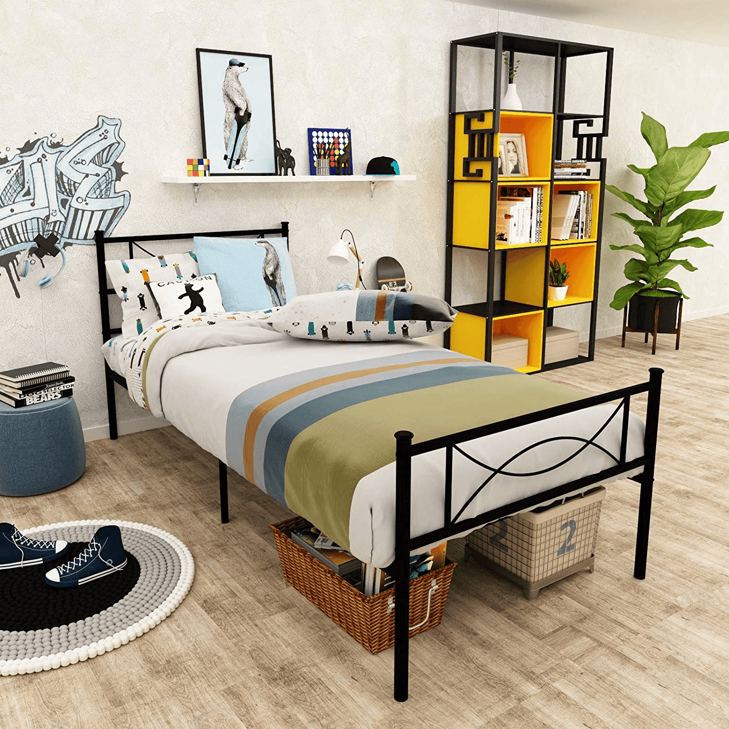 Image of: Elephance Twin Size Metal Platform Bed With Bowknot Headboards Easy Assembly Walmart Com Walmart Com