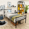 Cheerwing Metal Platform Bed, Twin, with Two Bowknot Headboards