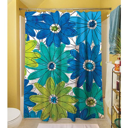 Thumbprintz Funky Florals Daisy Royal Blue Shower Curtain