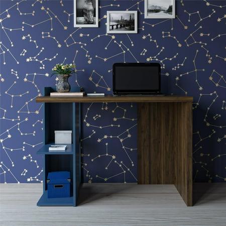 Novogratz Xavier Computer Desk, Walnut/Blue Finish